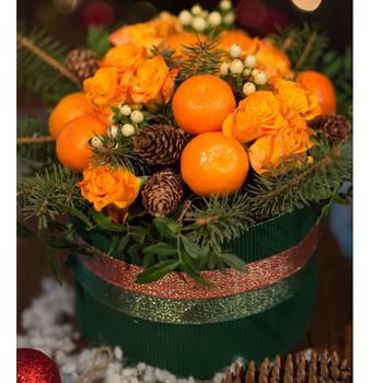 Новогодний съедобный букет с мандаринами